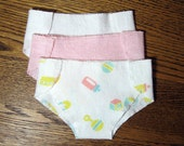 Bitty or Twin Girl Doll Clothes - Set of 3 Diapers