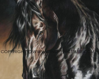 Friesian Black Horse Print of pastel painting. Equine art by Cindy Price