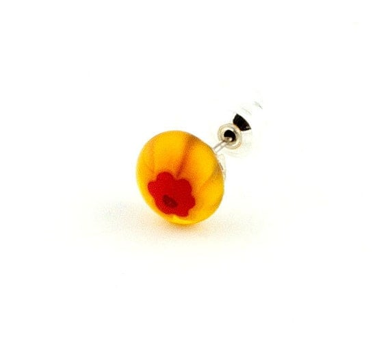 Men's earring - yellowish orange and red fused glass