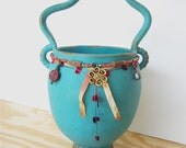 Stoneware Beaded Basket in Turquoise Glaze with Wavy Handle