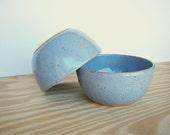 Blue Shino Stoneware Pottery Bowls - Set of 2