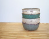 Instant Collection Stoneware Pottery Bowl Set - Sea Mist Fog and Creamy Peach Glazes