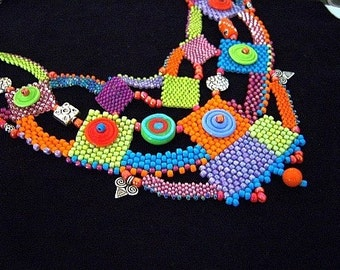 Spring Disc Beadweaving Necklace Statement Necklace Handmade