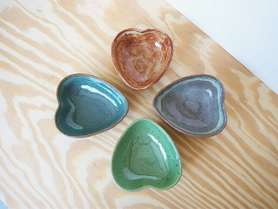 Rustic Stoneware Heart Bowls - Set of Four