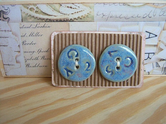 Ceramic Stoneware Blue Buttons with Random Text - Set of 2