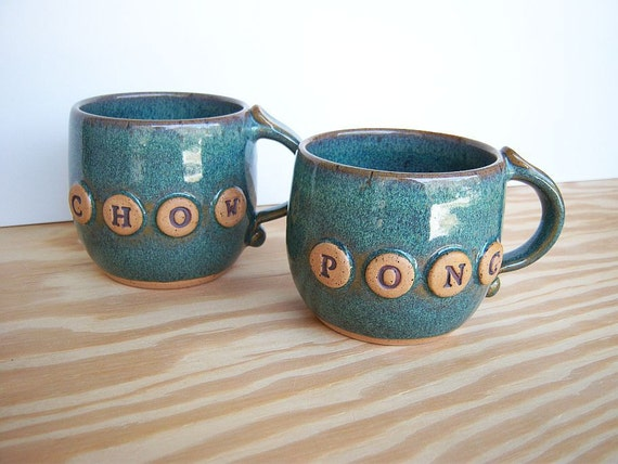 Mahjong Stoneware Cup Set in Sea Mist Glaze - Chow and Pong - Set of 2