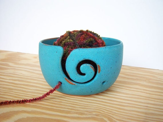 Stoneware Yarn Bowl in Turquoise Glaze - Spiral Design with 2 Holes