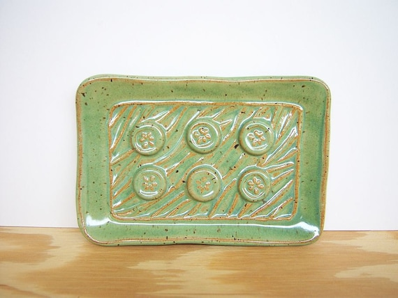Stamped Ceramic Soap Dish in Spring Green Glaze