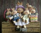 CF261 Wabbits Here, Wabbits There - PDF ePattern Cloth Rabbit Doll