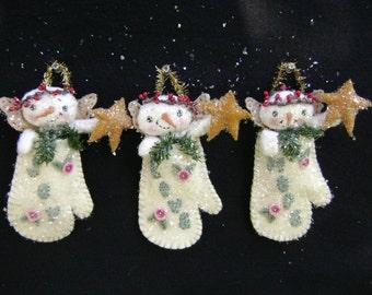 CF259 Twinkle Twinkle Little Flakes Sewing Cloth Snowmen Ornaments E-Pattern