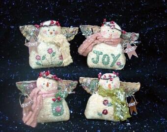 CF204 Snow Happy Foursome Snowmen Angel Doll Sewing E-Pattern PDF