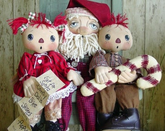 CF268 On Santa's Knee PDF E-Pattern 3 Cloth Dolls