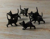 SALE Buy 3 Get 1 FREE Set of 6 Vintage German Miniature Black Cats Old Stock 3 Poses Terrarium Halloween Cake Toppers Ornaments Dioramas