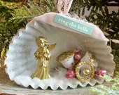 Shabby French Shadow Box / German Angel and Sugar Bells Diorama / Vintage Style Altered Art Ornament