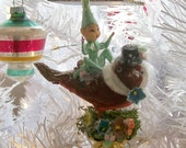 The last of the season / One of a Kind Heirloom Pixie Elf Riding Vintage Flocked Red Maroon Bird Christmas Ornament Clip
