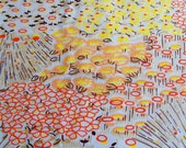 Vintage 60s 70s Retro Mod 48 x 40 Orange Peach Yellow Brown Floral Unused NylonTricot Shirt Blouse Fabric