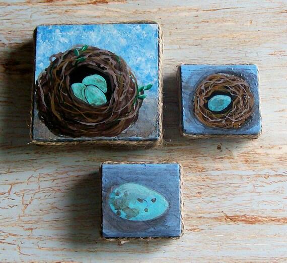 SALE / Original Acrylic Art Set of 3 Nests Miniature Bird Nest Paintings Robins Egg Blue French Farm House Cottage Folk Art