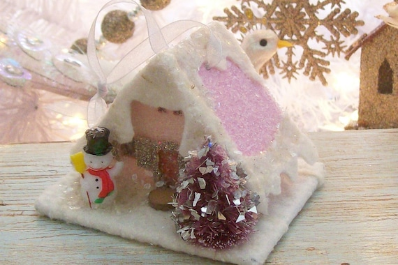 SALE / Shabby Pink Putz Style Christmas Glitter House Snowman Bottlebrush Tree