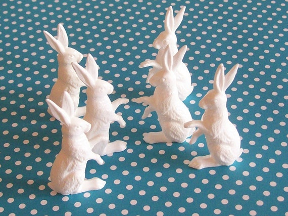 BUY 3 Get the 4th FREE / set of 6 Small Vintage Rabbits Toppers Terrariums  Dioramas Ornaments Alice in Wonderland