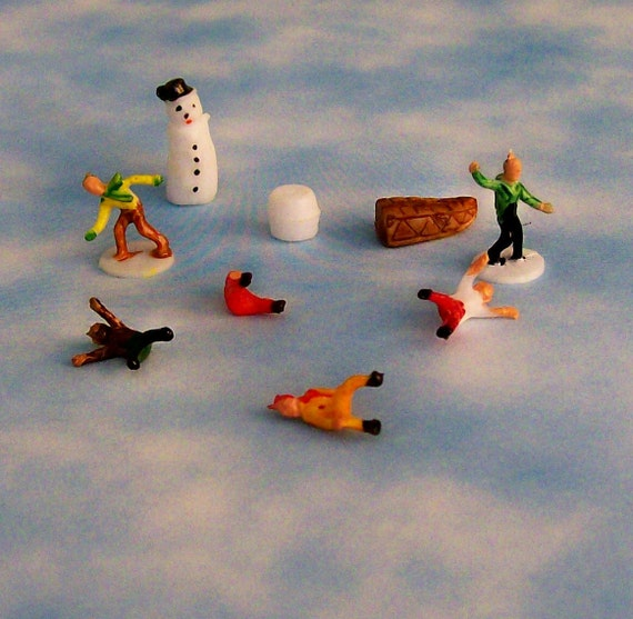 BUY 3 Get the 4th FREE / Set of 18 Tiny Vintage Miniature People Snowman Charles Dickens Christmas Terrarium Cake Toppers Ornaments Dioramas