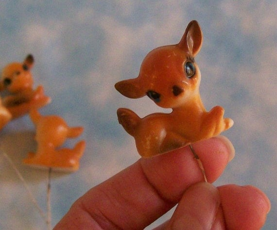BUY 3 Get the 4th FREE / Set of 4 Vintage Miniature Bambi Deer Fawn Millinery Picks Terrarium Cake Toppers Ornaments Dioramas