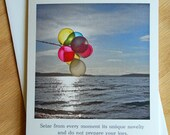 Sunset Balloons with Joy quote, set of 4 notecards