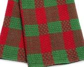 SALE 25% Kitchen Tea Towel Handwoven Red Green