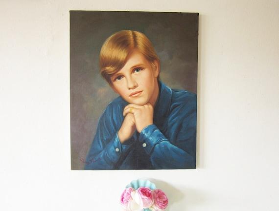 Vintage Portrait Painting Boy Teen