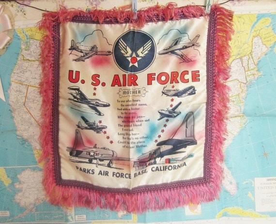 Vintage Fringed Souvenir Pillow Cover Air Force