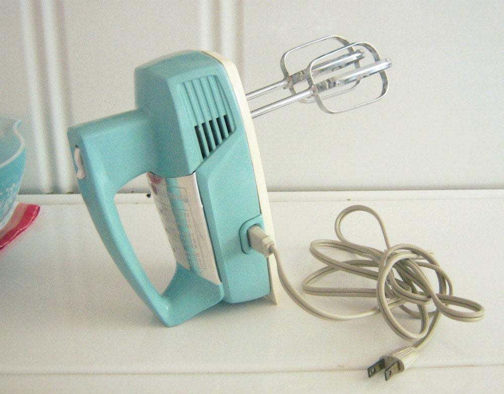 Vintage aqua general electric hand mixer by shabbyvintagehome for General electric mixer vintage