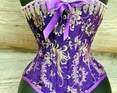 Purple Overbust Corset beautiful Brocade Silk with gold lace accent