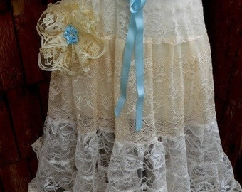 Vintage Style Romantic Antique Lace Sundress with Shoulder Straps perfect for wedding