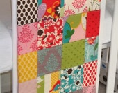 Modern Patchwork Baby Blanket Crib Blanket made with It's a Hoot Fabric Collection -  Soft flannel back