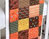 Modern Patchwork Baby Blanket Infant Crib blanket w/ Meadow Friends by Deb Strain for Moda - Flannel back - Last One Left