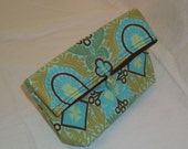 Folded Clutch Purse Bag made with Kashmir in Duck Egg by Amy Butler from Belle Collection, Out of Print, Makeup Bag, Bridesmaid Gift