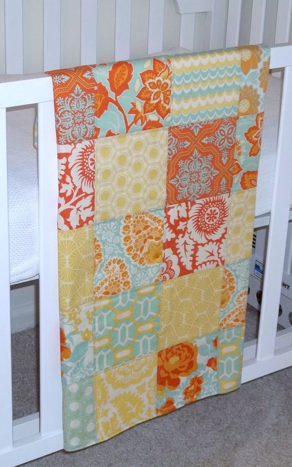 Modern Patchwork Baby Blanket Crib Infant Blanket  - Eclectic made with the Heirloom Citrine Collection by Joel Dewberry - Soft flannel back