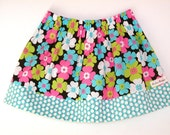 Clearance Sale Pink and Blue Floral  Twirl Skirts .. Baby .. Toddler .. Girls .. Size 3T