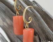 Genuine Bamboo Coral Earrings with 18K Matte Gold-Plated Swirl Ear Wires
