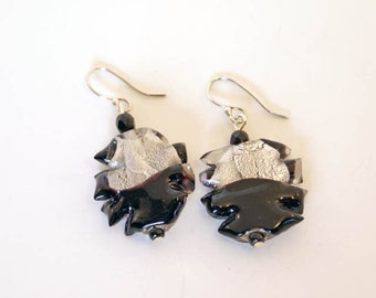 Black & Silver Foil Glass Earrings, Sterling Silver Earwires