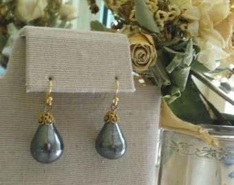 Miriam Haskell Charcoal Gray Pearl Earrings