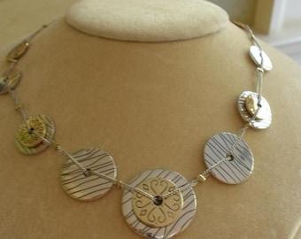 Vtg. Napier(Signed)Gold & Silver Disc Necklace