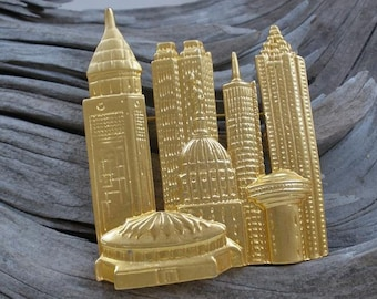 New York Skyline Brooch, Twin Towers, 1980 brooches, vintage brooch