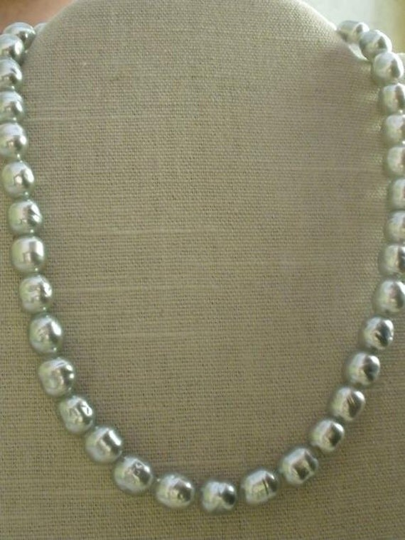 Silver Gray Baroque Pearl Necklace w/ Sterling Silver Clasp