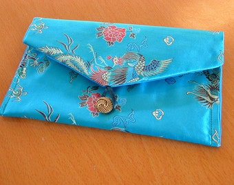 Envelope Clutch -custom made to order medium evening or formal purse - Chinese satin brocade hanbag made to order
