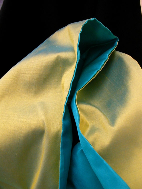 Lime green shot silk scarf- made to order
