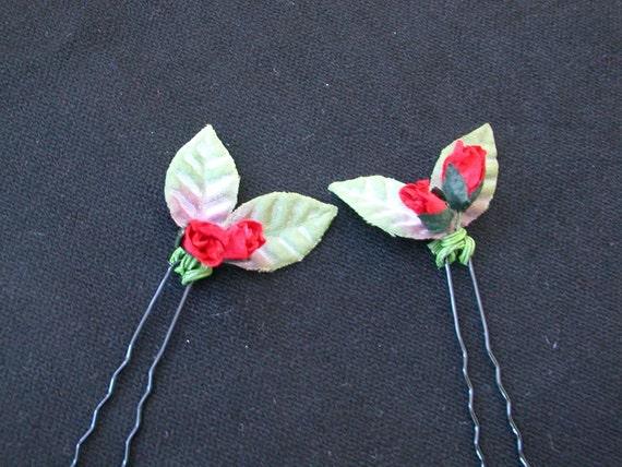 Red Rosebud Bobby Pins, Pair- made to order