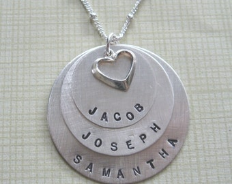 3 names/discs Mother's necklace
