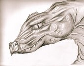WIND DRAGON .. Original .. Graphite Pencil 11 x 14