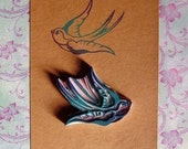 swallow hand carved rubber stamp