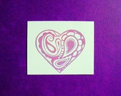 paisley heart clear polymer stamp